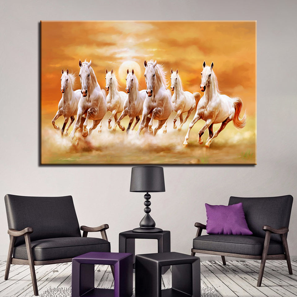 Running Fine Horses At Sunset Scenery 1 Piece Canvas Wall Art
