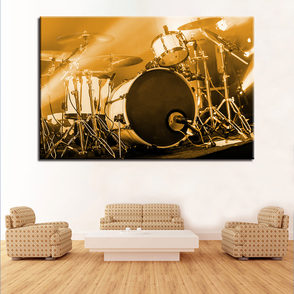 Drum Kit Musical Instruments 1 Piece Canvas Wall Art