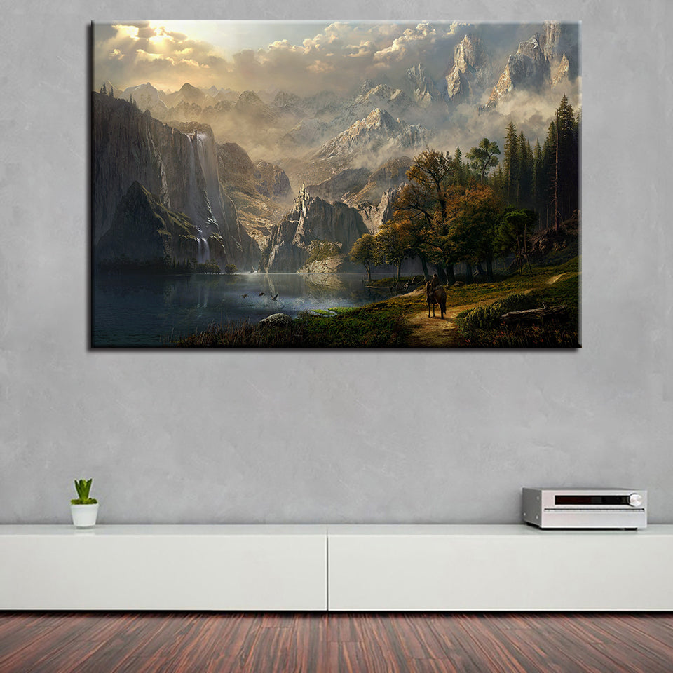 Canvas Wall Art Pictures Home Decor Living Room 1 Piece/Pcs Snow Mountain Waterfall Fairyland Painting HD Print Poster Framework
