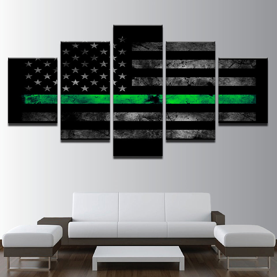 American Flag Painting Vintage Abstract Green Poster 5 Pieces Canvas Wall