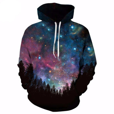 Galaxy Forrest Blue Unisex Hoodie front