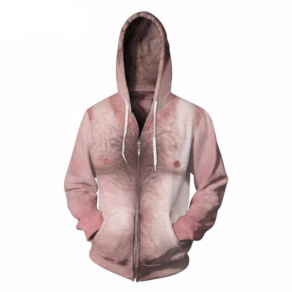 Hairy Chest Unisex Zip-Up Hoodie front