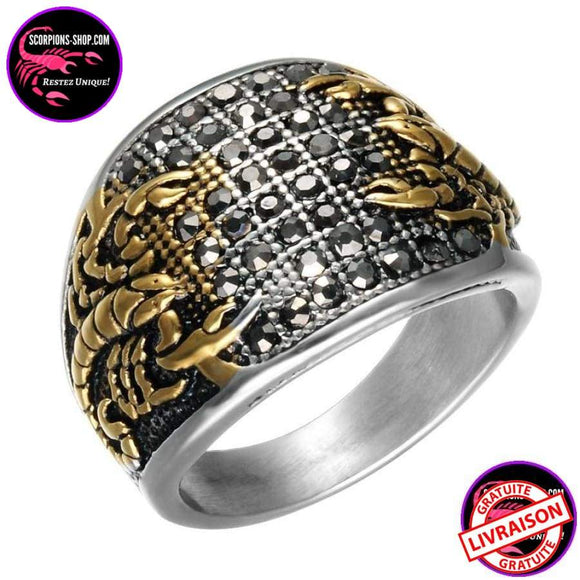 Bague en titane double scorpion - scorpions-shop