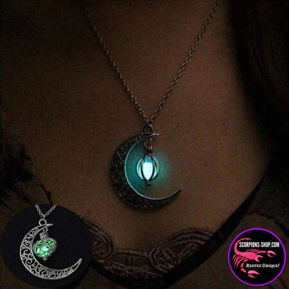 Collier pendentif lune pierre lumineuse-Colliers-scorpions-shop