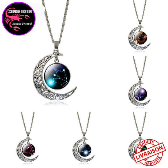 ⭐ Collier signes du zodiaque croissant de lune ⭐ Constellations-Colliers-scorpions-shop