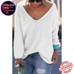 Pull Femmes Manches Longues Col en V-pull-scorpions-shop