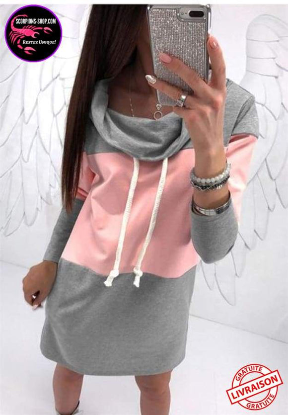 Robe col ample manches longues couleurs rose gris-Robes-scorpions-shop