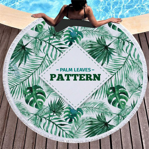 Serviette de plage ronde motif Palm leaves Patterns 150 cm-Serviettes de plage-scorpions-shop