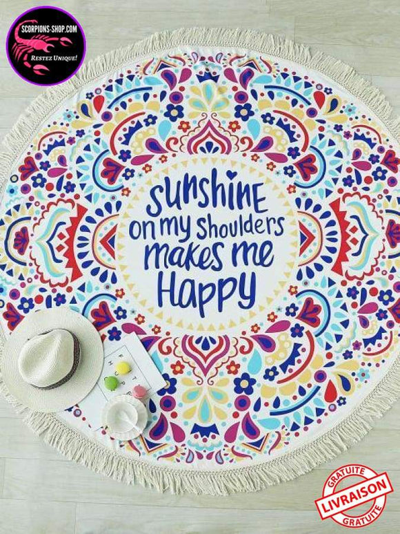 Serviette de plage ronde sunshine makes me happy 150 cm-Serviettes de plage-scorpions-shop