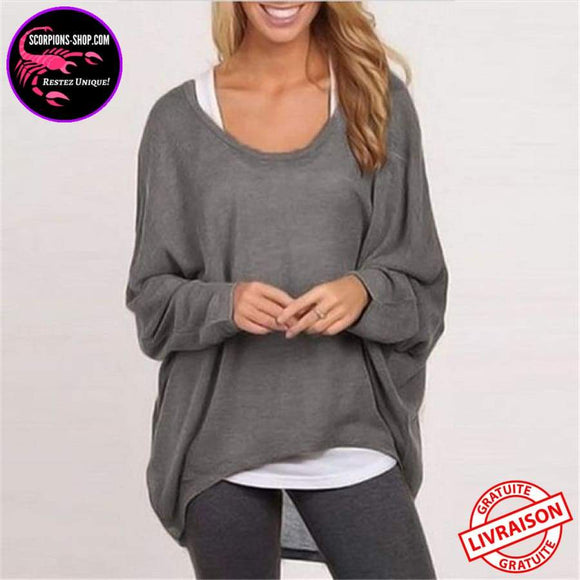 Top Femmes confortable Manches Longues style Chauve-Souris sexy Casual-Pull-scorpions-shop