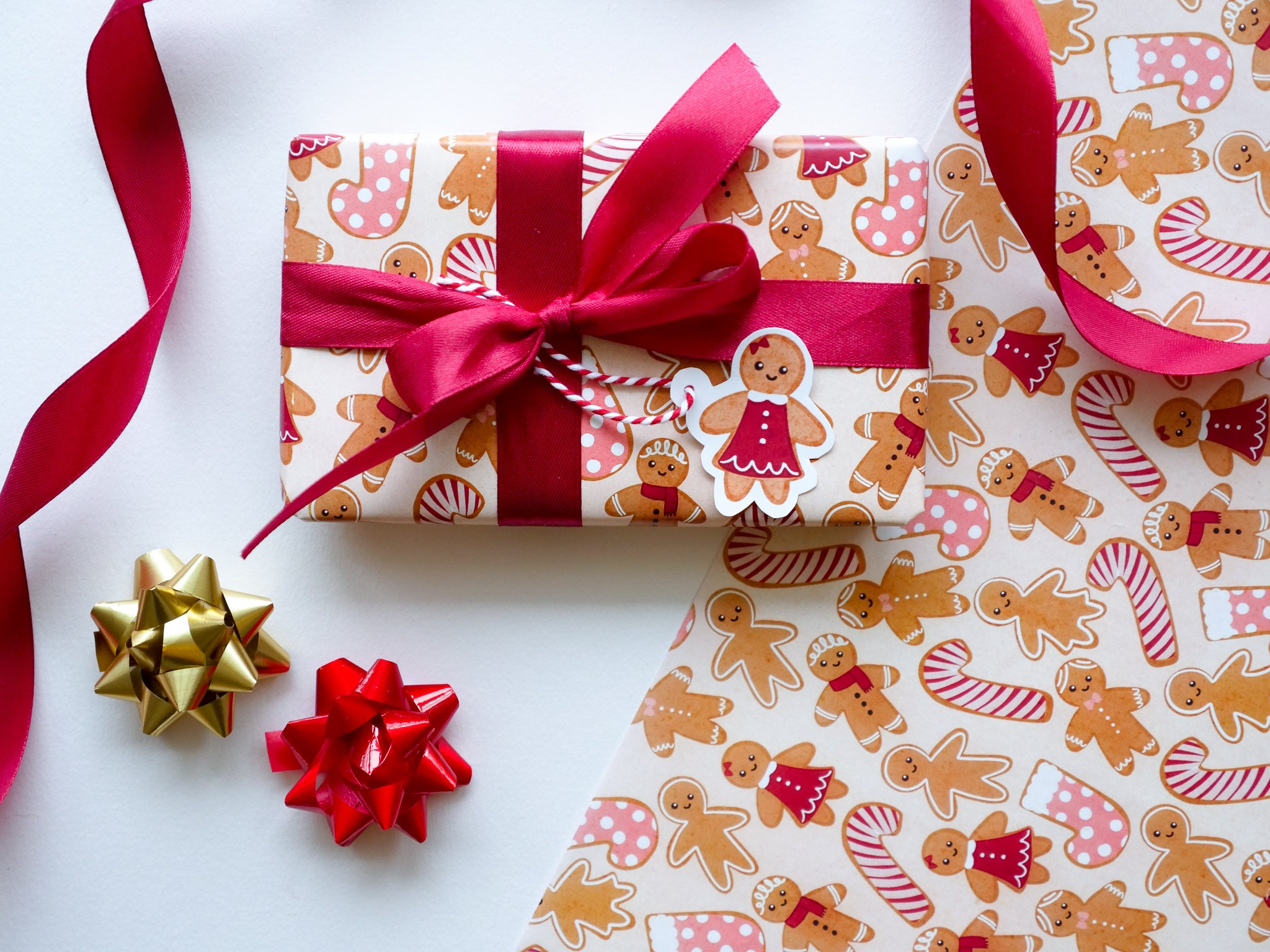 Cute gingerbread wrapping paper with gift tag photographed HUTCH London