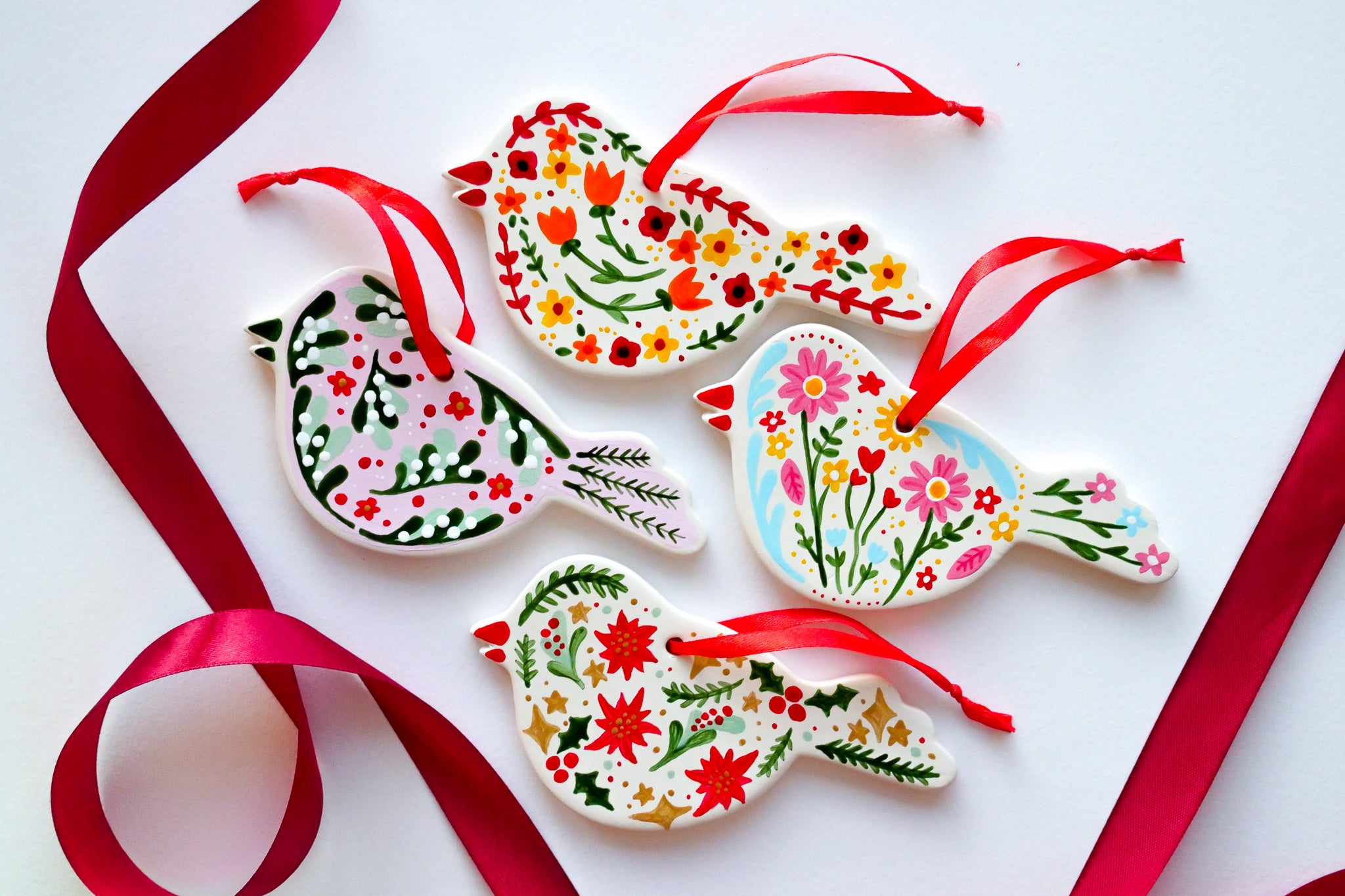 Ceramic Bird Christmas Decorations painted in floral print HUTCH London