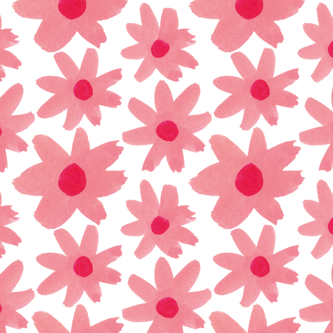 Large Pink Gouache Floral Pattern