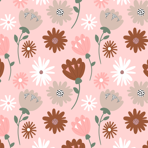 Pink Neutral Baby Floral Print