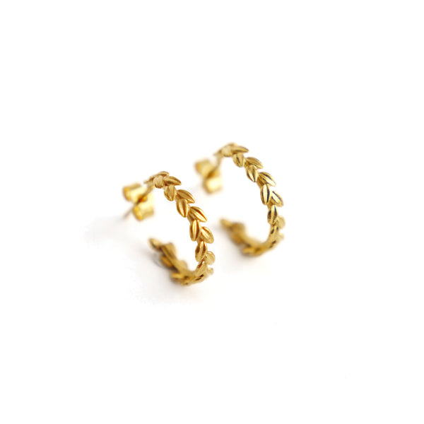 HUTCH London Leaf Hoop Earrings 18ct Yellow Gold