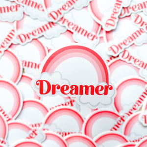 Dreamer Pink Rainbow Vinyl Sticker