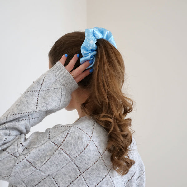 Blue Botanical Floral Print Satin Scrunchie