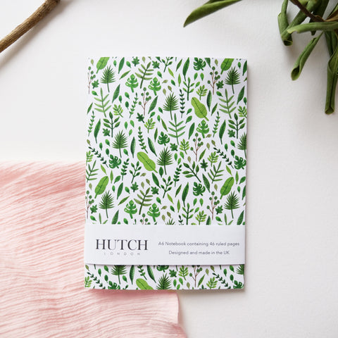 A6 Green Leaf Pocket Notebook