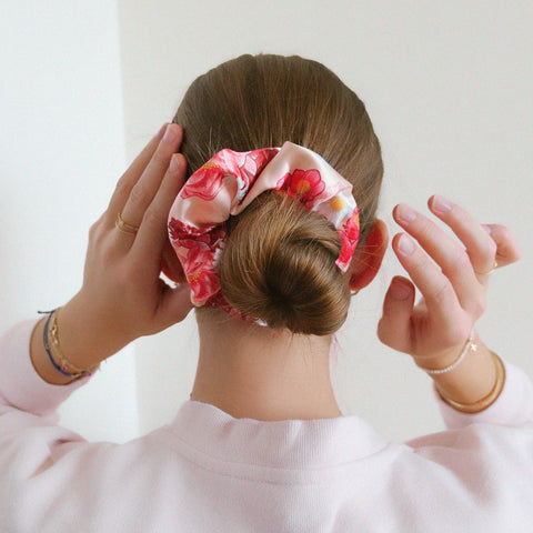 Peachy Floral Print Satin Scrunchie