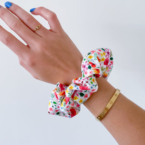 Gouache Floral Print Cotton Scrunchie