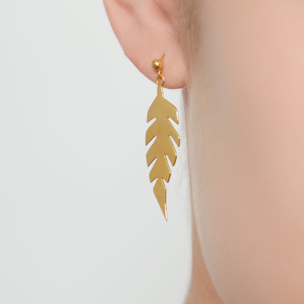 HUTCH London Leaf Silhouette Hanging Earrings 18ct Yellow Gold Sterling Silver