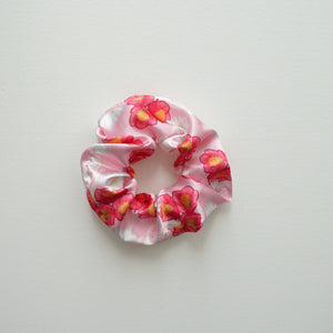 Pale Pink Floral Satin Scrunchie