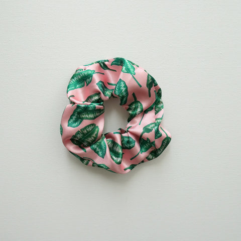 Banana Leaf Print Satin Scrunchie