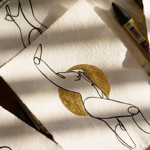 Stand Tall- Limited Edition Hand Painted Line Drawing with Gold Foil Artwork A5