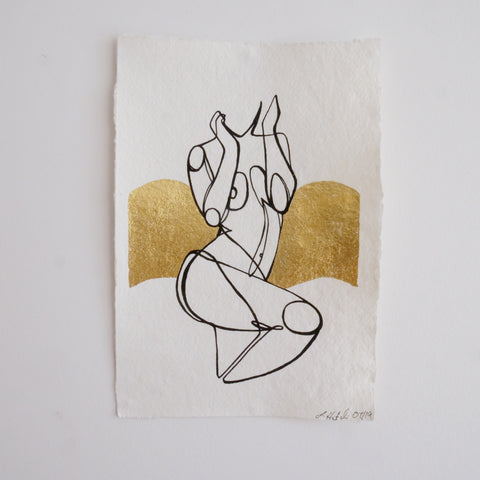 Wave- Limited Edition Hand Painted Line Drawing with Gold Foil Artwork A5