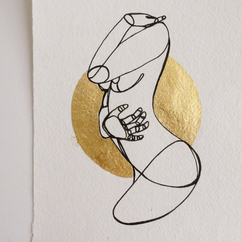 Figure Hugging-Limited Edition Hand Painted Line Drawing with Gold Foil Artwork A5