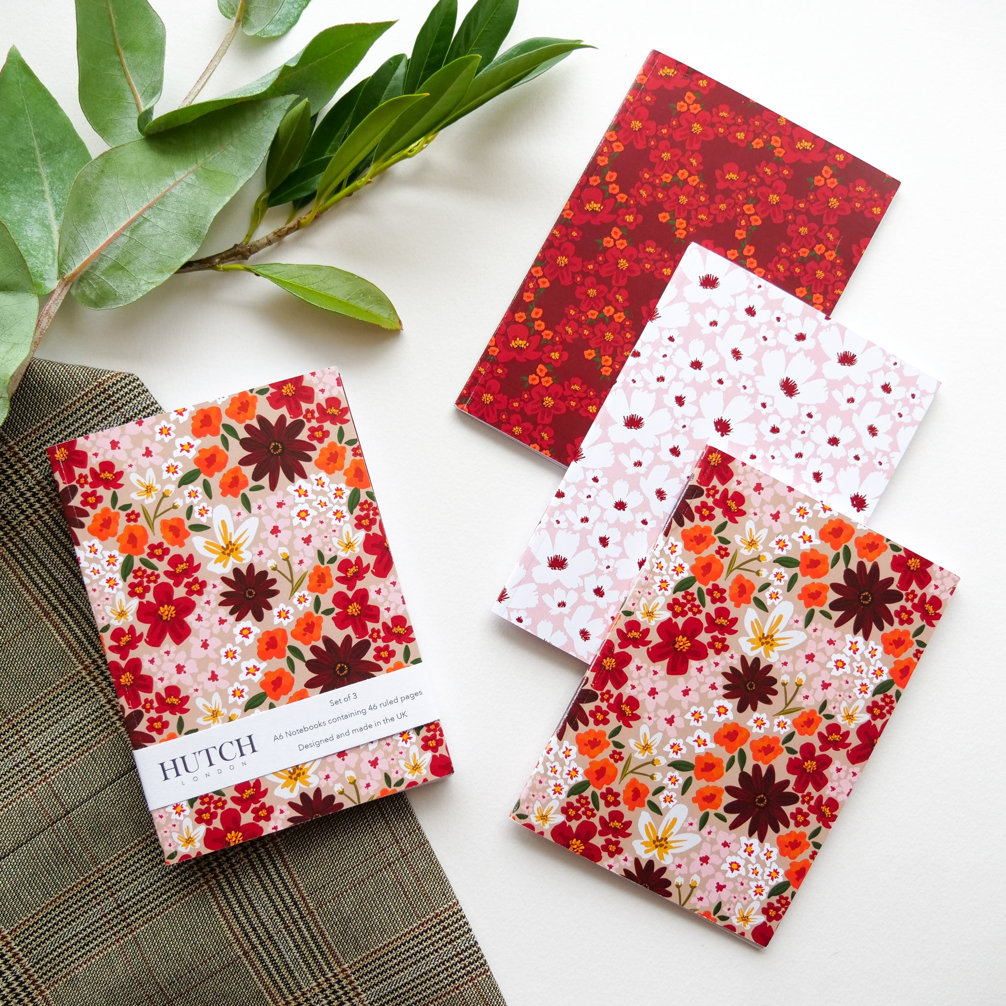 Set of 3 A6 Autumn Floral Pocket Notebooks