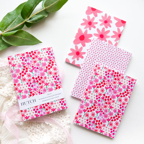 Set of 3 A6 Pink Florals Pocket Notebooks