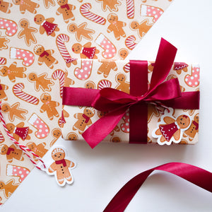 cute gingerbread wrapping paper with gift tags wrapped present
