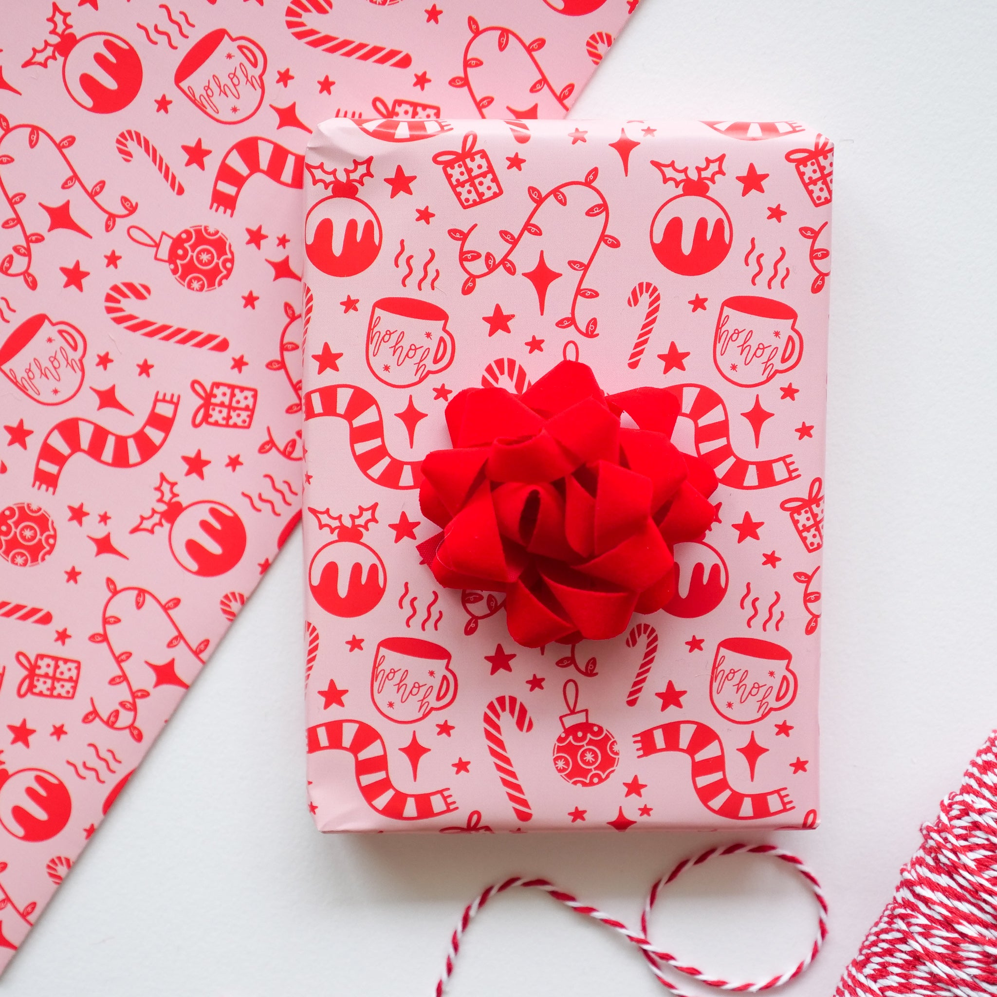 Cute Pink Christmas Motifs Wrapping Paper