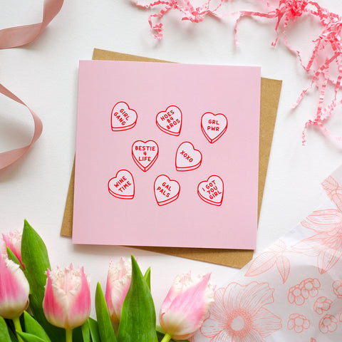 Galentines Love Hearts Square Card