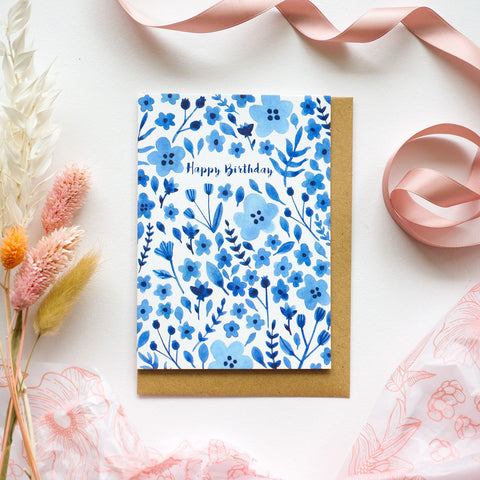 Happy Birthday Blue Floral Illustrated Card