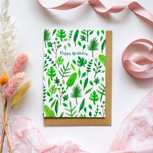 Happy Birthday Botanical Leaf Print Greetings Card