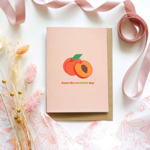 Have The Sweetest Day Peach Gold Foil Greetings Card