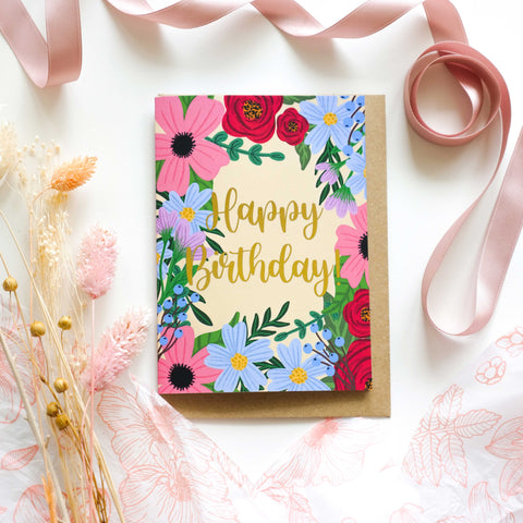Happy Birthday Spring Floral Gold Foil Greetings Card