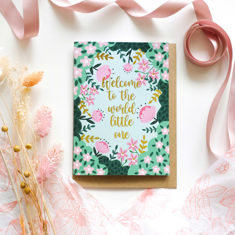 Welcome To The World Pink Gold Foil Greetings Card