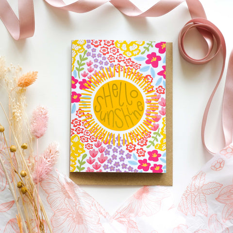 Hello Sunshine Gold Foil Pattern Greetings Card