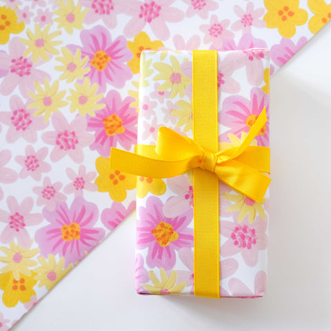 Pink & Yellow Spring Floral Print Wrapping Paper