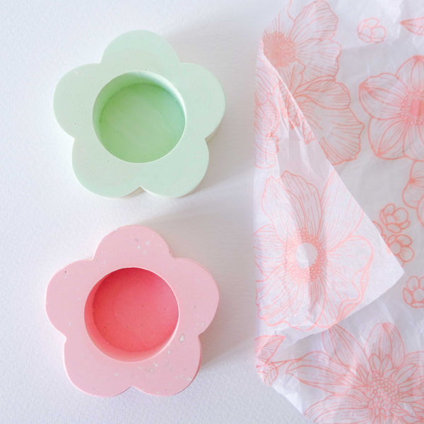Pastel Pink & Green Flower Tealight Holder- Set of 2