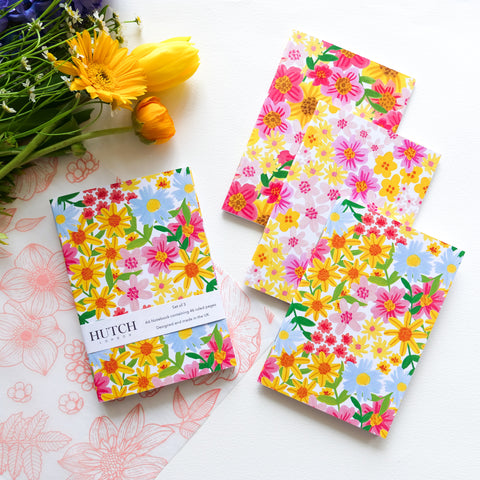 Spring Medley Set of 3 A6 Floral Pocket Notebooks