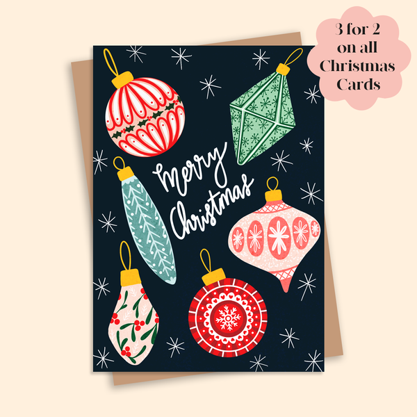 Christmas Baubles Illustrated Christmas Card A6
