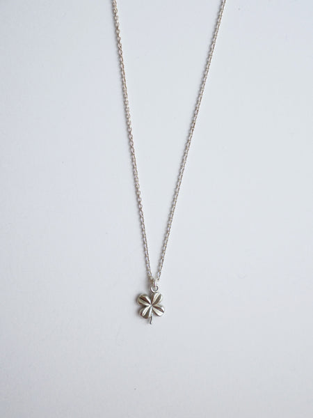 Tiny four leaf clover lucky pendant  silver gold vermeil cubic zirconia hutch London hutchlondon