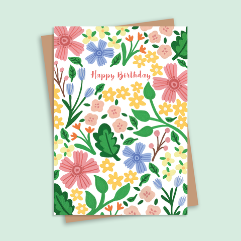Happy Birthday Illustrated Floral Pattern Greetings Card