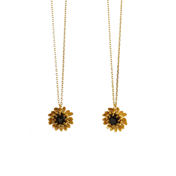 HUTCH London 18ct Yellow Gold Sunflower Pendant Necklace Smokey Quartz