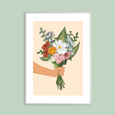 Wildflower Bouquet Digitally Illustrated Print