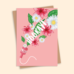 Hooray! Illustrated Floral Greetings Card